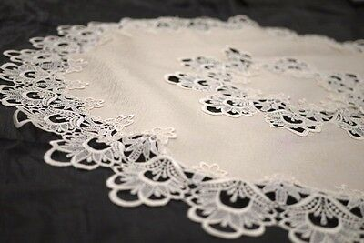 Large Round Handmade Thick Lace Tablecloth Decoration Cream Color 180x180cm