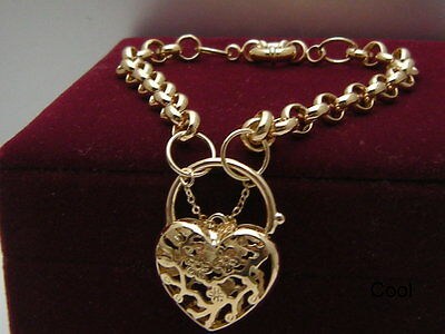 14ct 9ct Yellow gold GF Heart Padlock Curb Link Charm Women's bracelet 21-23cm