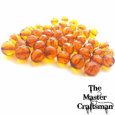 ☆1 Pc 6mm-7mm GENUINE BALTIC AMBER POLISHED FACETED ROUND DRILLED LOOSE BEADS