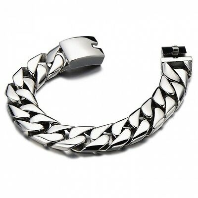 Top Quality 17MM Wide Stainless Steel Men's Flat Curb Chain Bracelet Silver Colo