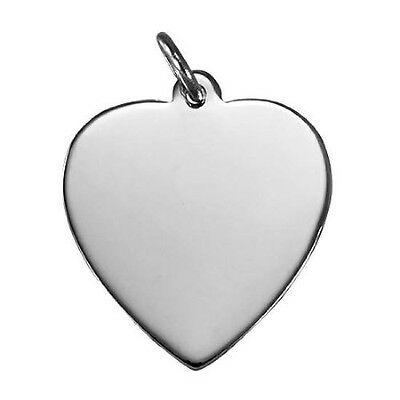 Sayers London Sterling Silver Large Engravable Heart Pendant. Best Price
