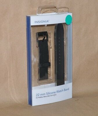 Insignia Silicone Watch Strap 22mm Black Pebble LG Asus Moto 360 NS-AWB38BLK
