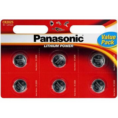 6 x Panasonic CR2025 DL2025 3V Lithium Coin Cell Batteries BEST VALUE 6 PACK