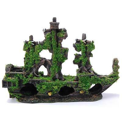 Aquarium Fish Tank Ornament Boat Shipwreck Moss Covered Decoration - 62353