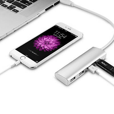 Aluminum 4 Port USB 3.0 Hub 5Gbps High Speed Adapter For PC Mac - Silver