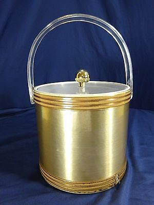 Vintage Georges Briard Gold Tone Ice Bucket Lucite Handle Mid Century w/ Tongs