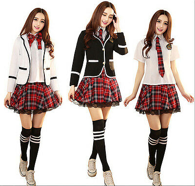 Japanese School Girl Cute Sailor Uniform Dress Skirt T-shirt Cosplay Costume D01