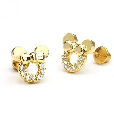 14k Gold Plated Minnie Mouse Children Screwback Earrings With 925 Silver Post Ba