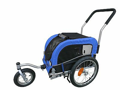 Booyah Small Pet Dog Stroller and Bicycle Bike Trailer - Blue