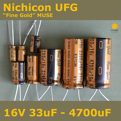 "Nichicon UFG FG ""Fine Gold"" MUSE High Grade for Audio [16V] Capacitors"