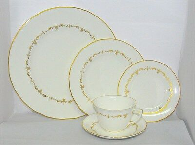 1-Royal Worcester Gold Chantilly  5 Piece Place Setting  ( 7 Available)