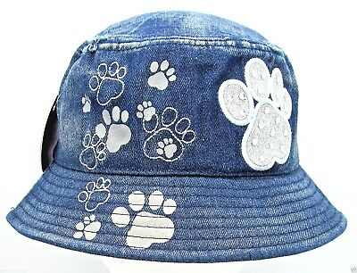 11d1e748bda Distressed Denim Rhinestone Puppy Dog Paw Bucket Hat Boonie Fishing Cap  OSFM NWT