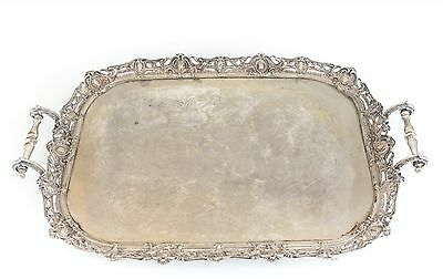 Johnson & Co. Birmingham Silverplate on Brass Footed Serving Tray c1880 handles