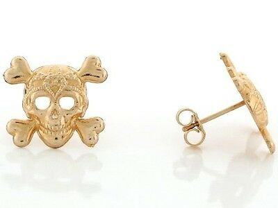 14k Yellow Gold 1.4cm Skull and Crossbones Pin Earrings. Free Delivery