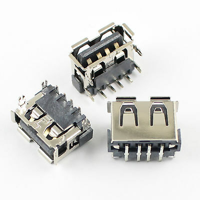 5Pcs USB 2.0 Type A Female 4 Pin Right Angle DIP PCB Connector 4 Legs