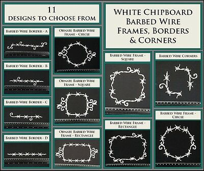 White Chipboard - Barbed Wire Frames, Borders & Corners