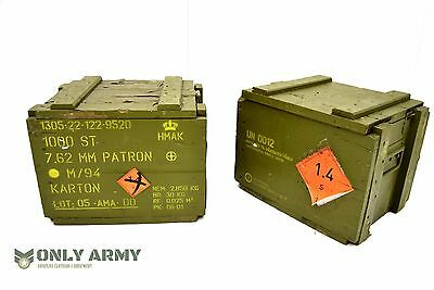 Military Wooden Storage Ammo Box With Hinged Lid Genuine Austrian Army Surplus