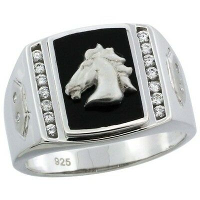Sterling Silver Men's Black Onyx Horse Ring w/ CZ Stones & Hexagon Accents, 19/3
