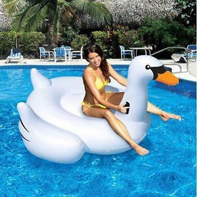 White Fashion Summer Swimming Pool Rideable Swan Inflatable Float Toy Raft AU