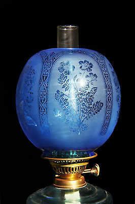 """OIL LAMP SHADE - Large Ball Turquoise 4"""" Fit"""