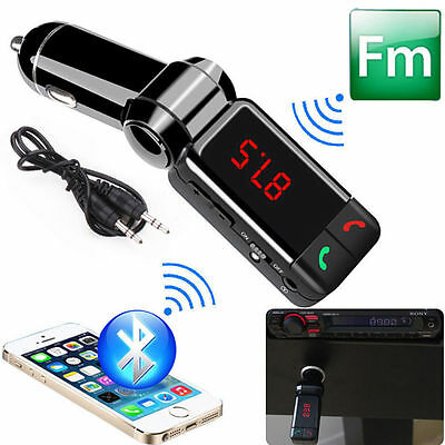 LCD Bluetooth Car Kit MP3 FM Transmitter SD USB Charger Handsfree for iPhone UK
