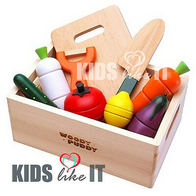 Kids Wooden VEGETABLE Fruit BOX Cutting KITCHEN Toy Pretend PLAY Cooking SET