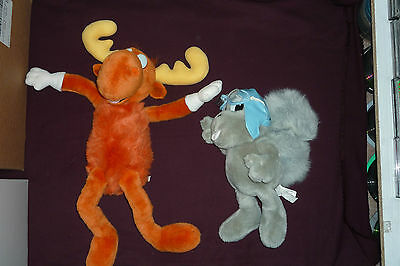 """Awesome The Adventures of Rocky & Bullwinkle Plush Figure Set  HUGE 14"""" & 22"""""""