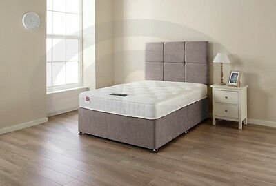 4ft6 double divan bed with sprung memory foam mattress drawers and headboard