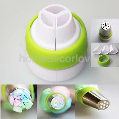 3-Color Russian Icing Piping Nozzle Converter Coupler Cake Decor Baking Tool