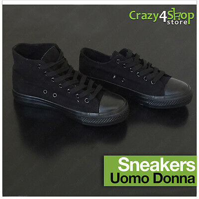 Scarpe uomo/donna sneakers in tela alta e bassa nero all black