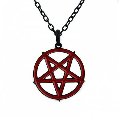 Red Inlay Inverted Pentagram Occult Necklace. Brand New
