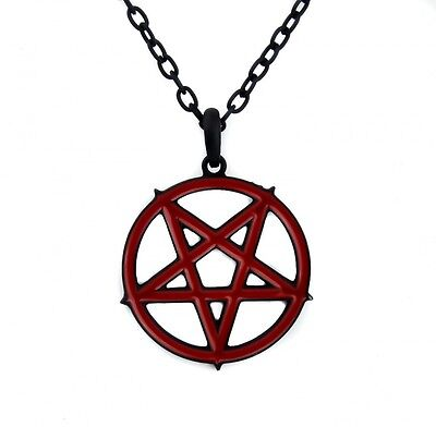Red Inlay Inverted Pentagram Occult Necklace. Free Shipping