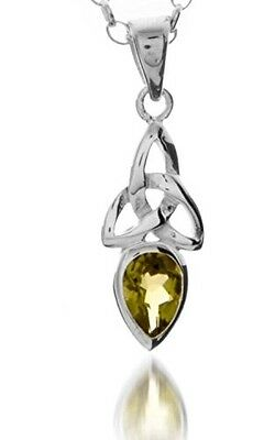A 925 Silver Celtic Trinity Pendant Necklace With August Birth Stone (Peridot) O