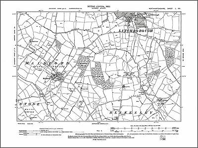 Blakesley old map Northants 1901 55NE repro Woodend