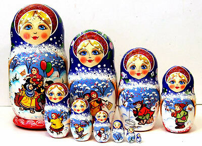 "Nesting dolls - Folk holidays - 10 pcs/10"" handmade collectible matryoshka 226p"