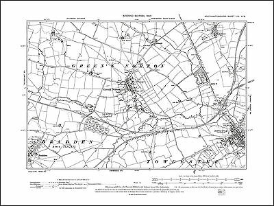 Towcester west, Green's Norton, Bradden, old map Northants 1901: 56NW repro