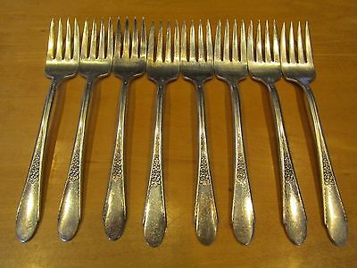 Set of 8 Silver Plated Salad Forks GARDENIA by Wm Rogers & Son IS International
