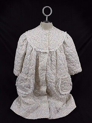 Vtg 60's Girls Quilted Full Length House Coat Robe Sz M White Polka Dot Lace