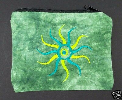 Green Tie Dye Sun Coin Purse Bag Pouch Credit Card ID Holder Wallet 100% Cotton