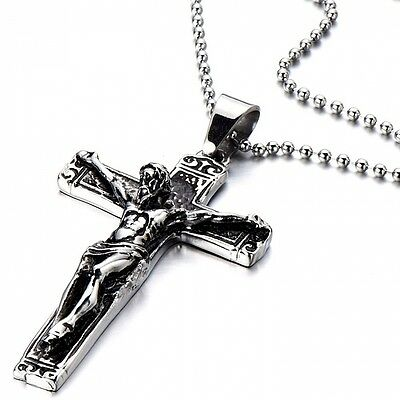 Stainless Steel Gothic Crucifix Cross Necklace Pendant Necklace with 80cm Steel
