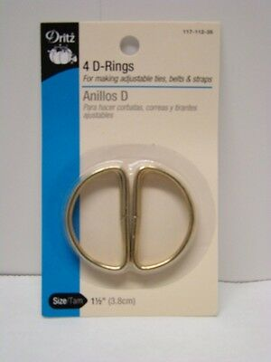 Dritz D-Rings - Gilt - 3.8cm - 4 Ct.. Shipping is Free
