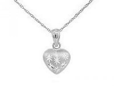 38.1cm Kids 14K White Gold Puffed Heart Pendant Necklace For Girls. Best Price