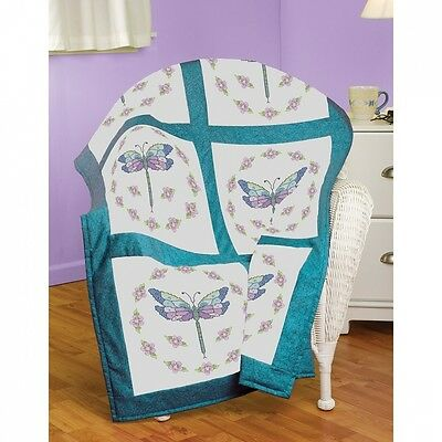 Janlynn Dragonfly Quilt Block Stamped Cross Stitch, 46cm by 46cm , 6-Pack. Free