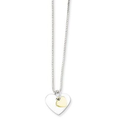 Sterling Silver & Vermeil Polished Fancy Heart Necklace. Brand New