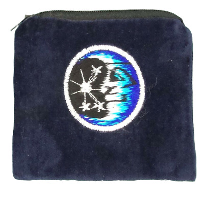 Moon Star Blue Velvet Coin Purse Bag Pouch Credit Card ID Holder Wallet Cotton