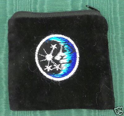 Moon Star Black Velvet Coin Purse Bag Pouch Credit Card ID Holder Wallet Cotton