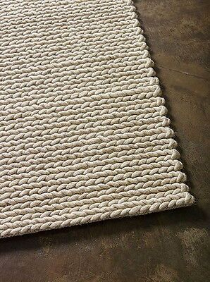 New LARGE thick Mat 100% NZ Wool The RUG Collection ROPEWEAVE 160 x 230cm beige