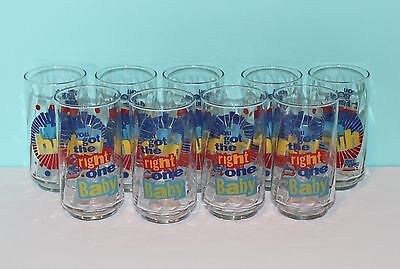 """You Got The Right One Baby"" Set of 9 Vintage Diet Pepsi Drink Beverage Glasses"