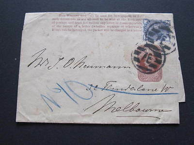 GB Private franked uprated Postal Stationery Wrapper to Melbourne Australia