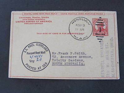 S.S. Pres Cleveland Boat Mail Honolulu to South Australia 1951  US Postal Card